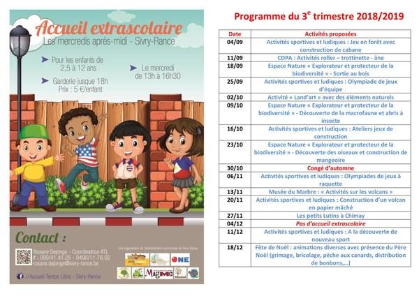 Programme 3e trimestre 2018 2019